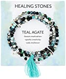 Silver Plated Genuine Agate Bead with Teal Tassel Wrap Bracelet, 20''