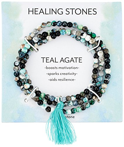 Silver Plated Genuine Agate Bead with Teal Tassel Wrap Bracelet, 20'' by Amazon Collection