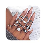 Bohemian Knuckle Ring Set Vintage Silver Crystal Joint Knuckle Ring Set for women