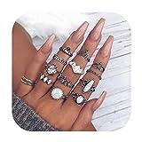 Gudukt 12PCS Bohemian Retro Vintage Crystal Joint Knuckle Ring Sets Finger Rings