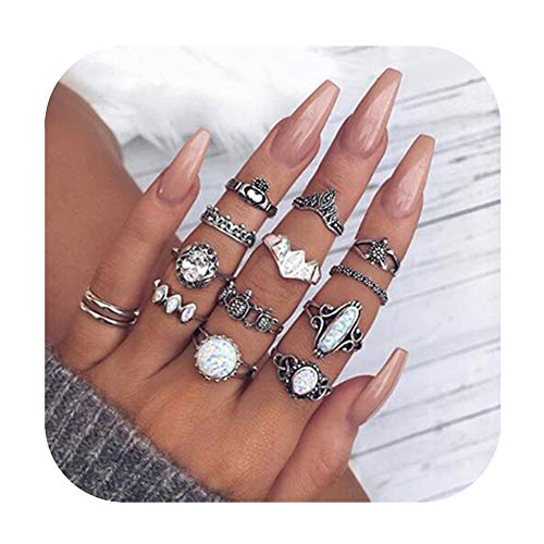 Gudukt 12PCS Bohemian Retro Vintage Crystal Joint Knuckle Ring Sets Finger Rings