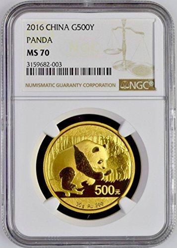 2016 CN China 2016 Gold Coin 500 Yuan Panda 30 gram Templ 500 Yuan MS 70 NGC