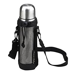 Picnic at Ascot Thermal Coffee And Tea Flask With Mesh Carrier, Black/Stainless Steel