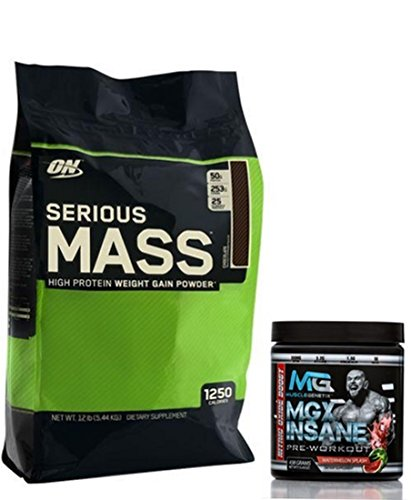 Serious Mass by Optimum Nutrition Weight Gain High Protein Powder, 12lb, Chocolate + MGX Insane Pre-Workout Energy & Endurances booster, 438 Grams Watermelon by Optimum Nutrition/MGX Nutrition