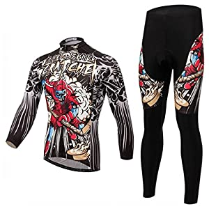 BESYL Unisex Printed High-Performance Mesh Cycling Clothing Suit, Breathable Long Sleeve Cycling Jersey and Bib Padded Pants Kit for Bicycle Bike Riding Biker (Black Brown Red Green Hockey Skull)