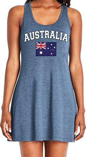Amdesco Ladies Australian Flag, Flag of Australia, Aussie Casual Racerback Tank Dress, Indigo Medium