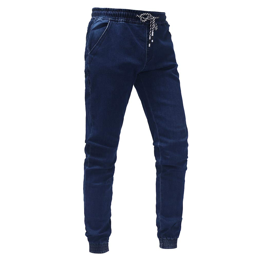 Sacherron Tech Mens Fashion Casual Vintage Elastic Wash Disstressed Denim Slim Trousers Jeans for Mens