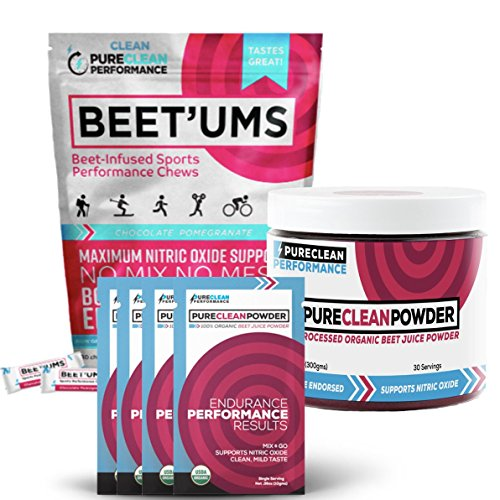 PureClean Powder - 100% USA Grown, Organic Beet Juice Powder (Jar 300G) ALSO Beet'Ums - Beet Infused Chocolate Pomegranate Performance Chews, PLUS 15 Packets - No Fillers, Sweeteners or Additives.