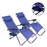 Polar Aurora 2 pack Zero Gravity Chairs Recliner Lounge Patio Chairs Folding Cup Holder