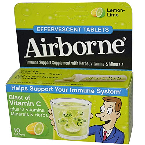 Airborne Lemon Lime Effervescent Tablets, 10 count - 1000mg of Vitamin C - Immune Support Supplement (Pack of 6)
