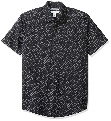 Amazon Essentials Men's Slim-Fit Short-Sleeve Print Shirt, Small Floral, Large (S/s Button Up Shirt)
