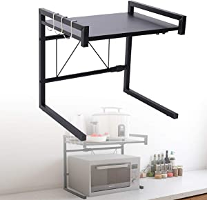 "HOMIKE Microwave Oven Rack,Expandable Microwave Shelf,Carbon Steel Kitchen Counter Shelves,2 Tiers with 3 Hooks,Baker's Rack, Toaster Oven Shelf,55lbs Loading Bearing(15.8~23.6""x14.2""x16.5"") Black"