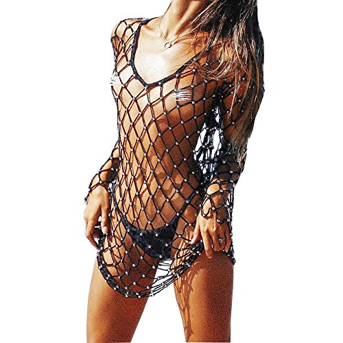 Godzgift Women's Hollow Fishnet Beach Dresses Bikini Cover Up ()