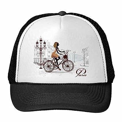 DIYthinker Bicycle Lady France Mark Landmark National Flag Architecture Custom Landscape Illustration Pattern Trucker Hat Baseball
