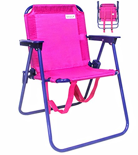 VALLF Kids Beach & Camping Folding Chair with Convenient Backpack Straps and Safety Lock to Avoid Accidents 2~5 Years Old (Pink)