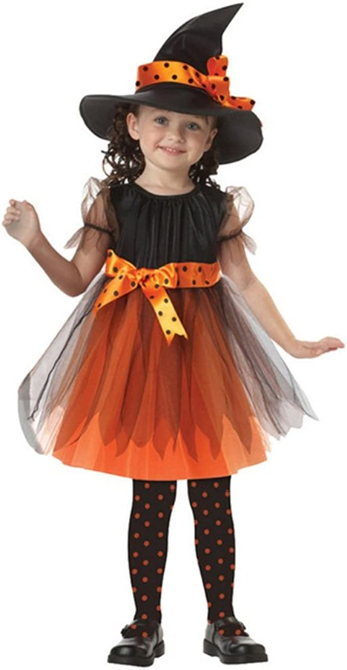 2-15T Girls Halloween Witch Dress+Hat Costume Outfit for Halloween Cosplay Clothes Set