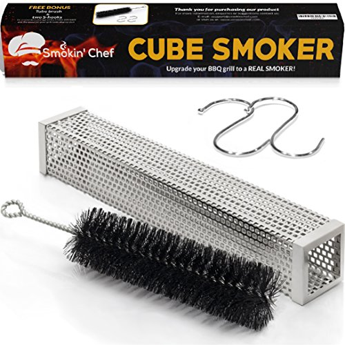 Smokin' Chef Cube Smoker 12 Inch: Wood Pellet Smoker Tube | Turns Any BBQ Grill into a Smoker | Perfect for Hot and Cold Smoking | Plus FREE Tube Brush and 2 S-Hooks