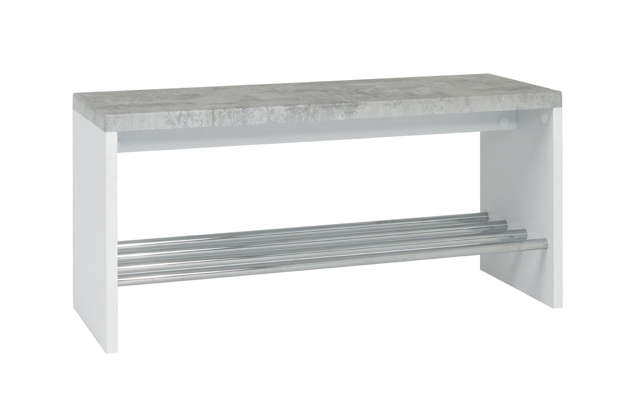 Metallo Haku mobili Panca 30/x 81/x 40/cm Effetto Cemento//Bianco//Cromo