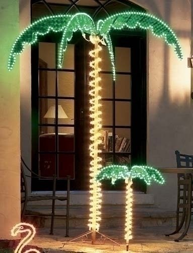 7' Tropical Lighted Holographic Rope Light Outdoor Palm Tree Yard Decoration by Roman