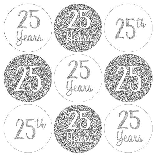 Anniversary Stickers - Silver 25th Anniversary Party Favor Labels