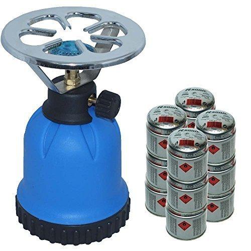 1x Rsonic Gaskocher C190 Blau + 12x Butane cartridge (je 190g) • Blue Portable mini Camping gaskocher mit 12 Butane…