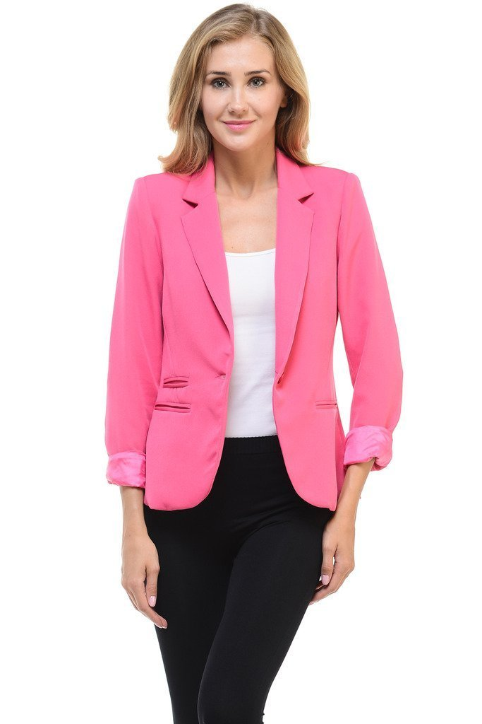 Auliné Collection Women's Color Work Office Long Sleeve Button Lined Blazer Hot Pink Medium