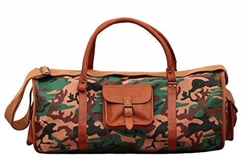 PAUL MARIUS Le Voyageur XL Camouflage, Borsa Pelle Vintage, Borsa da Viaggio, Borsa a Tracolla, Vintage & Retro