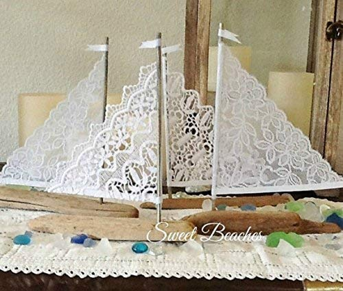 (Petite Fleet Set of 4 White Lace Driftwood 3 to 5 inches Sailboat Seaside Nautical Resort Decor Wedding Center Peice Cake toppers)