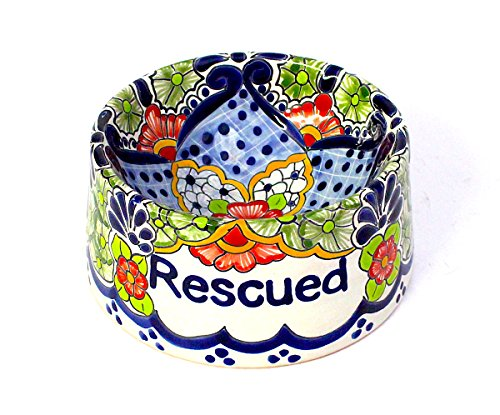 San Miguel Collection Hand-painted Ceramic Dog Bowl Rescued | Bella Hacienda