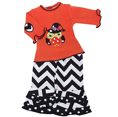 [AnnLoren Black & Orange Halloween Owl Doll Outfit Fits American Girl] (Doll Halloween Outfit)