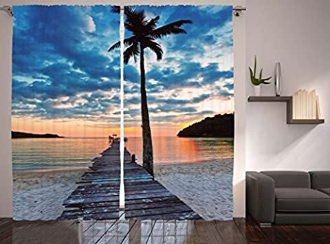 Tropical Trees Decor Curtains by Ambesonne, Nautical Ocean Artwork Wooden Dock Bridge to Water Waves in Sunset, Window Drapes 2 Panel Set for Living Room Bedroom, 108 X 84 Inches, Blue Coral and Black