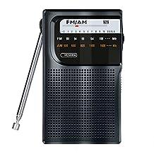 FM/AM Portable Pocket Radio, Battery Powered Transistor Radio Compact Radio Player with Headphone Jack and High Sensitivity Telescopic Antenna - by Lvver (Black)