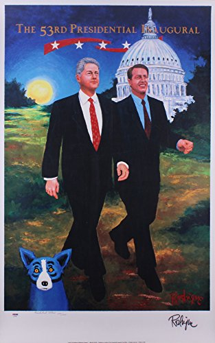 George Rodrigue Signed 53rd Presidential Inaugural Presidential Edition Blue Dog Lithograph #ed/1000 PSA/DNA (d)