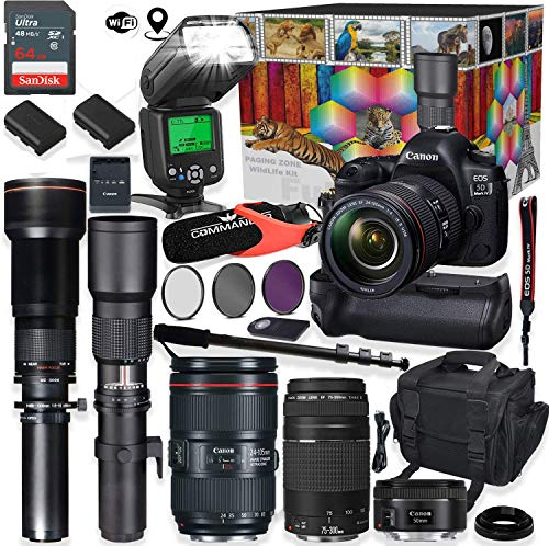 Canon EOS 5D Mark IV DSLR Camera 5 Lens Professional Bundle with Canon 24-105mm USM, 50mm f/1.8 & 75-300mm Lenses + 500mm & 650-1300mm Preset Telephoto Commander Optics Wildlife Bundle