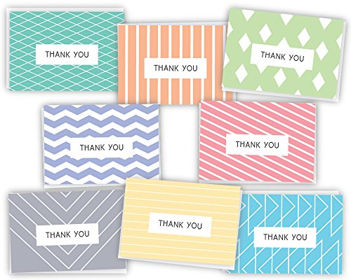 Geometric Modern Thank You Note Cards Variety - 48 Cards & Envelopes - 8 All Occasion - Hills Valley