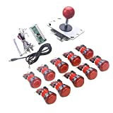 WINIT 1 Player LED Arcade Button and Joystick Arcade DIY Parts Kit 10 x LED Light Button + 5Pin 8 Way Joystick for USB MAME, Raspberry Pi, Raspberry Pi 2, Raspberry Pi 3 RetroPie Projects Color: Red