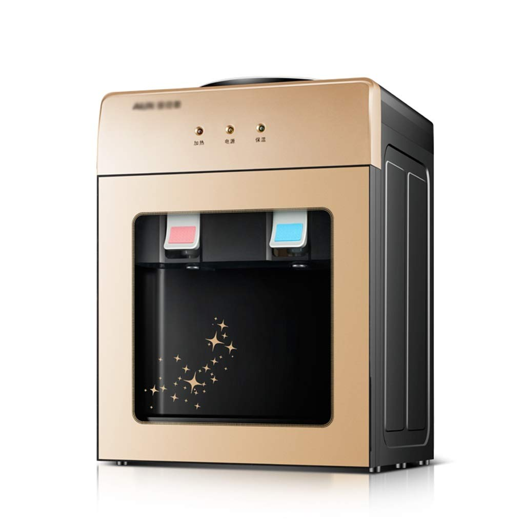 CUIS- Small Desktop Water Dispenser - Top Loading, Home Mini Ice Temperature Tropical Glass Dust Door - Gold/Black (Size : Warm Type)