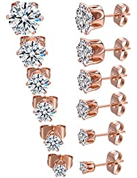 18K Rose Gold Plated Round Clear Cubic Zirconia Stud Earring Pack of 6 Pairs (6 Pairs)