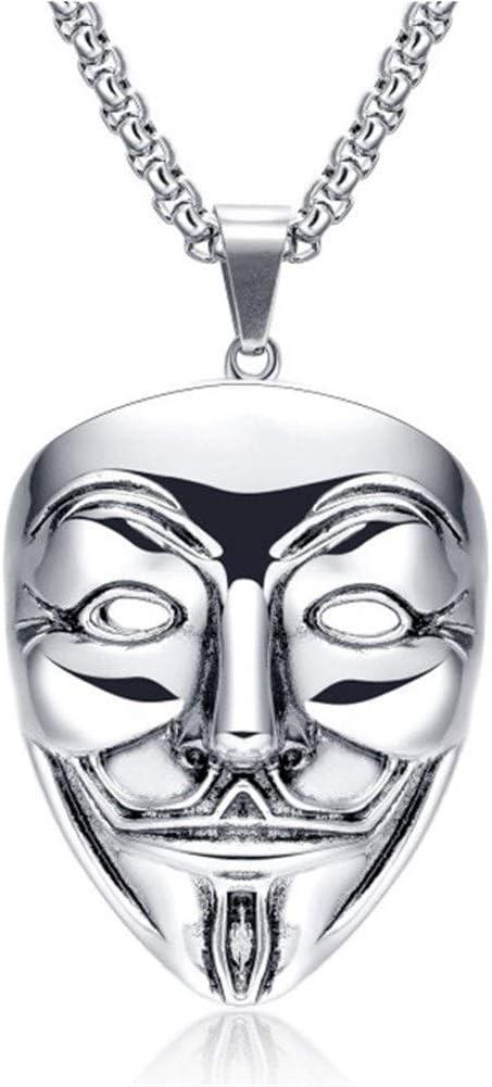 NOBRAND 2020 V-Vendetta Retro Colgante Nightclub Jewelry Máscara para Hombre Accesorios Largos Collar con Colgante Moda (Color : Silver)