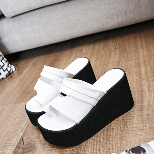 Sandalias color para del de Mujer sandalias de moda Zapatillas sólido del RETUROM de deslizador la la de flor Sandalias Blanco mujeres las playa SRxdd