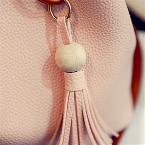 Shoulder Purse Ladies Bucket Handbags Women Pink Leather Fringe Crossbody Nodykka Bag Bags xwq4aa