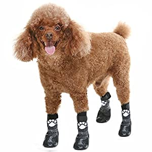 Dog Socks Anti Slip with Straps Traction Control Waterproof Paw Protector, L by KOOLTAIL