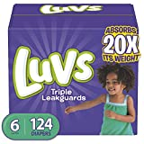 Luvs (LUVSD) Diapers Size 6, 124 Count - Luvs Ultra Leakguards Disposable Baby Diapers, ONE MONTH SUPPLY