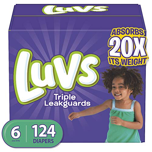 Diapers Size 6, 124 Count - Luvs Ultra Leakguards Disposable Baby Diapers, ONE MONTH SUPPLY (Packaging May Vary) from Luvs (LUVSD)