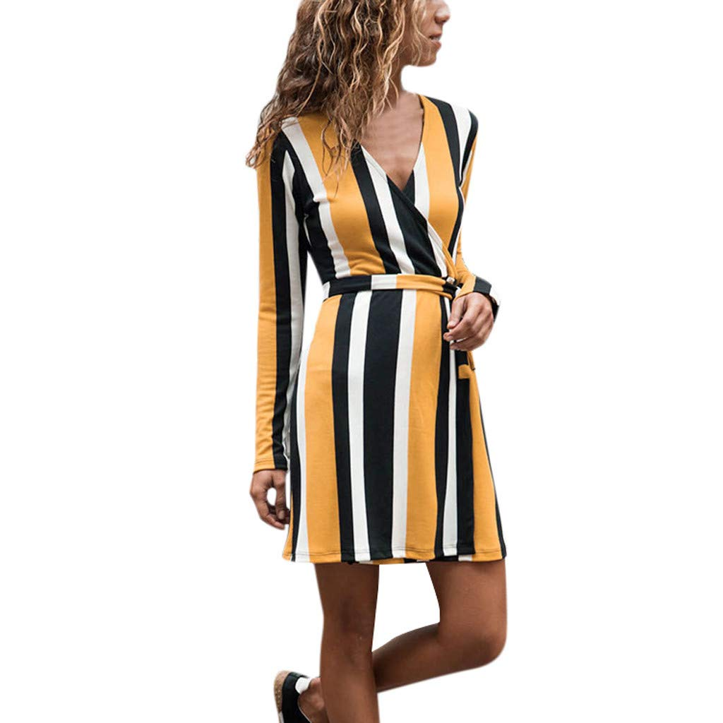 FEDULK Women Dresses V Neck Striped Print Bandage Above Knee Fit Casual Beach Party Dress(Yellow, US Size L = Tag XL)