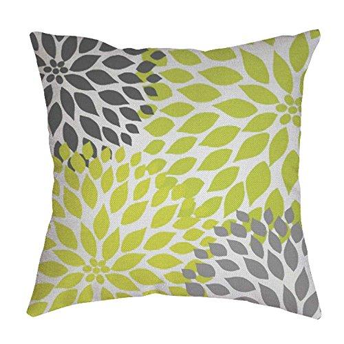 iYBUIA Leaf Printed Cotton Linen Pillow Case Sofa Waist Throw Cushion Cover Home Decor ()
