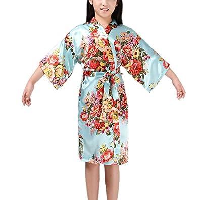Admireme Kids' Satin Floral Robe Kimono Robe Girl Flower Robe Getting Ready Robe for Wedding Spa Party Birthday
