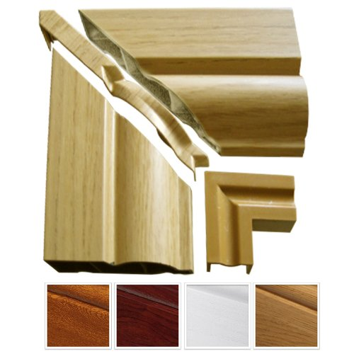 1 x English Oak Roomline uPVC Architrave Sample Pack - consists of 2 x Architrave pieces (125mm lengths), 1 x Internal Joint and 1 x Cover Trim....