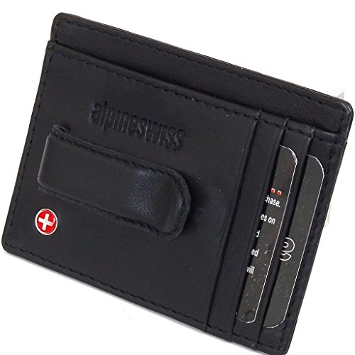 NEW Alpine Swiss Men's Leather Money Clip Front Pocket Wallet