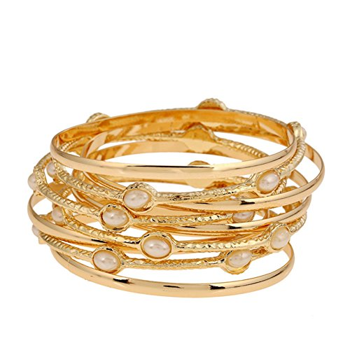 Melodyep Fashion Multilayer Pearl Diamond Bracelet Hoops (Singer One 24 Stitch compare prices)